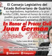 Sesión Solemne en Honor a Juan Germán Roscio Nieves. Lunes 8 de Marzo en Guárico